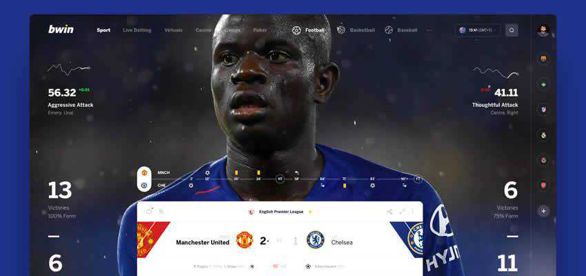 bwin Game sport fitness web design inspiration ui ux