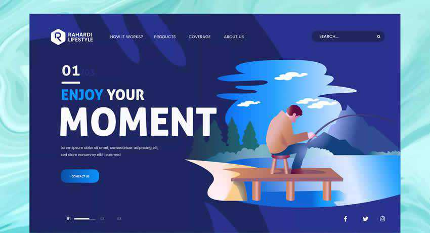 Fishing PSD Vector Template sport fitness web design inspiration ui ux