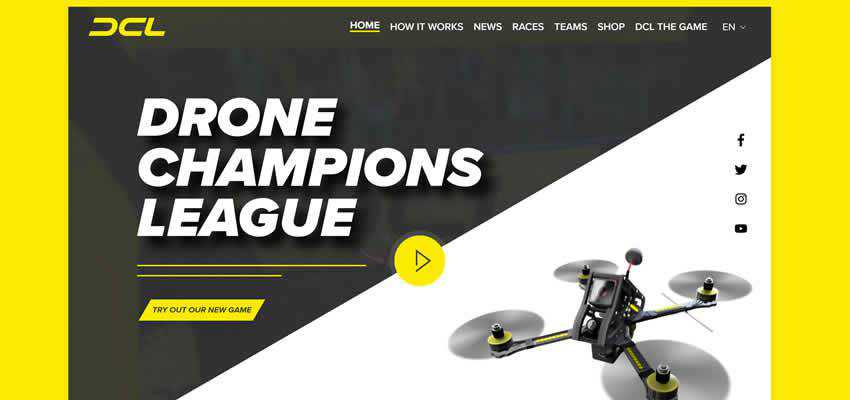 DCL Drone Champions League sport fitness web design inspiration ui ux