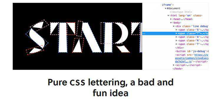 Pure CSS lettering, a bad and fun idea