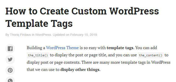 How to Create Custom WordPress Template Tags