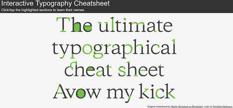 Interactive Typography Cheatsheet