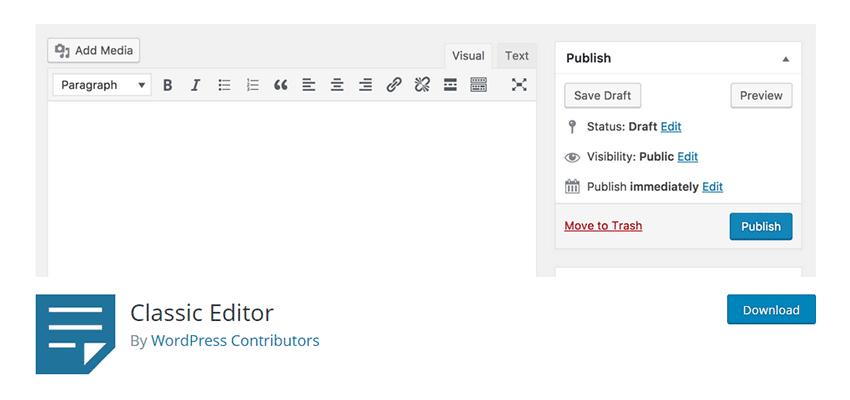 WordPress Classic Editor plugin header.