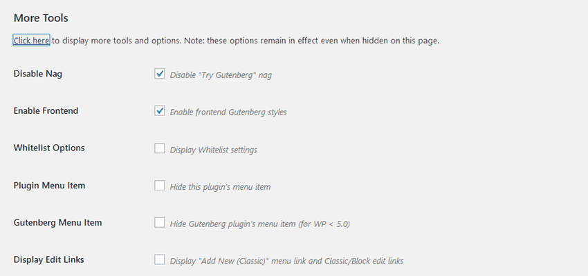 The Disable Gutenberg plugin settings screen.