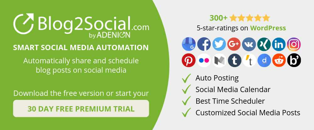Blog2Social - Smart social media automation for WordPress