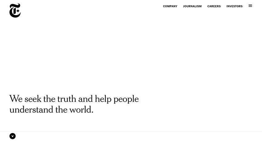 New York Times Company business corporate website web design inspiration ui ux