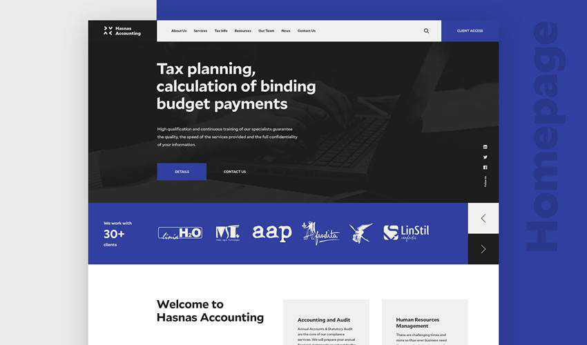 Hasnas Accounting business corporate website web design inspiration ui ux