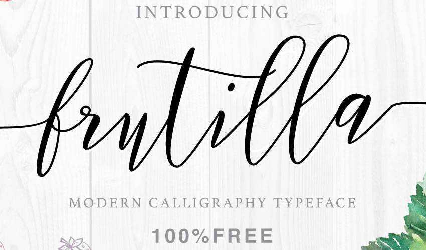 free font calligraphy typography script Frutilla Script