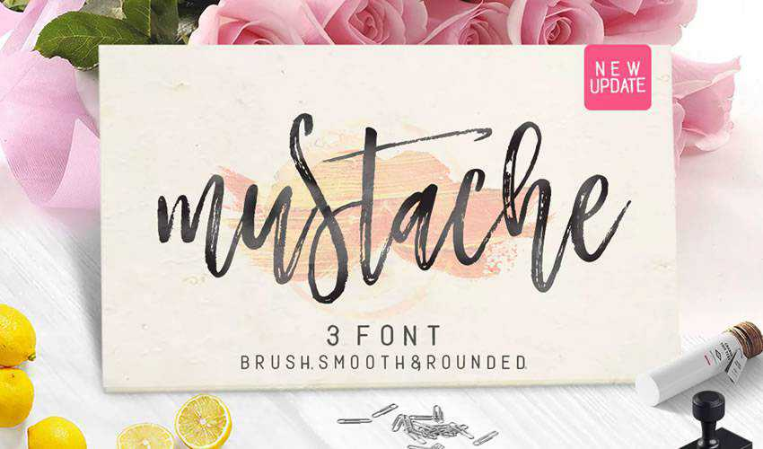 free font calligraphy typography script Mustahe Brush