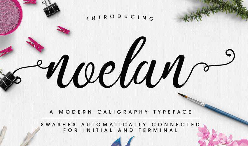 free font calligraphy typography script Noelan