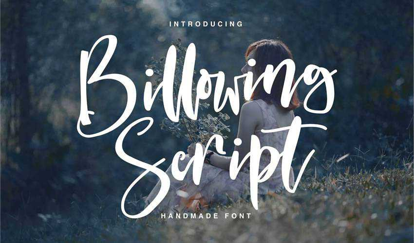 free font calligraphy typography script Billowing Script