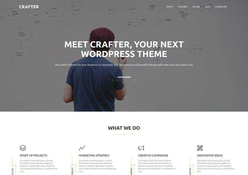 Crafter free wordpress theme wp responsive business corporate