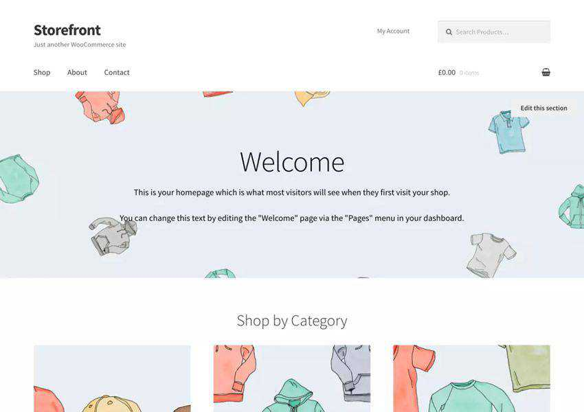 Storefront Minimal free wordpress theme wp responsive ecommerce shop woocommerce