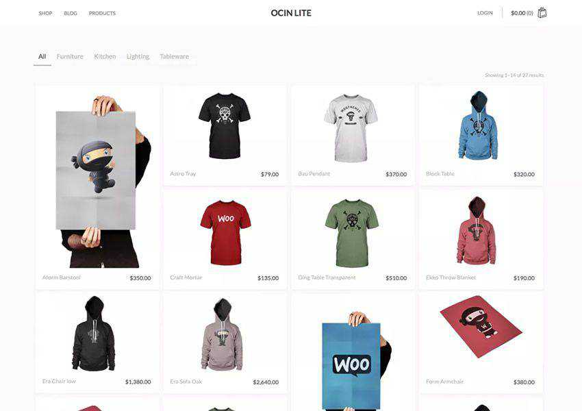 Ocin Lite free wordpress theme wp responsive ecommerce shop woocommerce