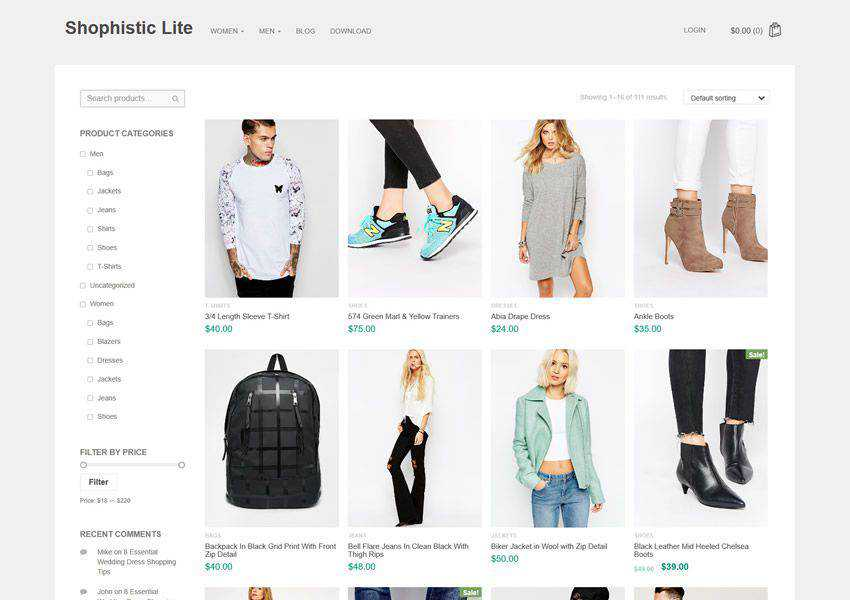 Shophistic Lite free wordpress theme wp responsive ecommerce shop woocommerce