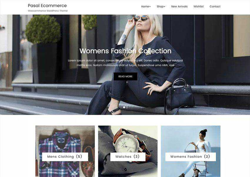Pasal free wordpress theme wp responsive ecommerce shop woocommerce