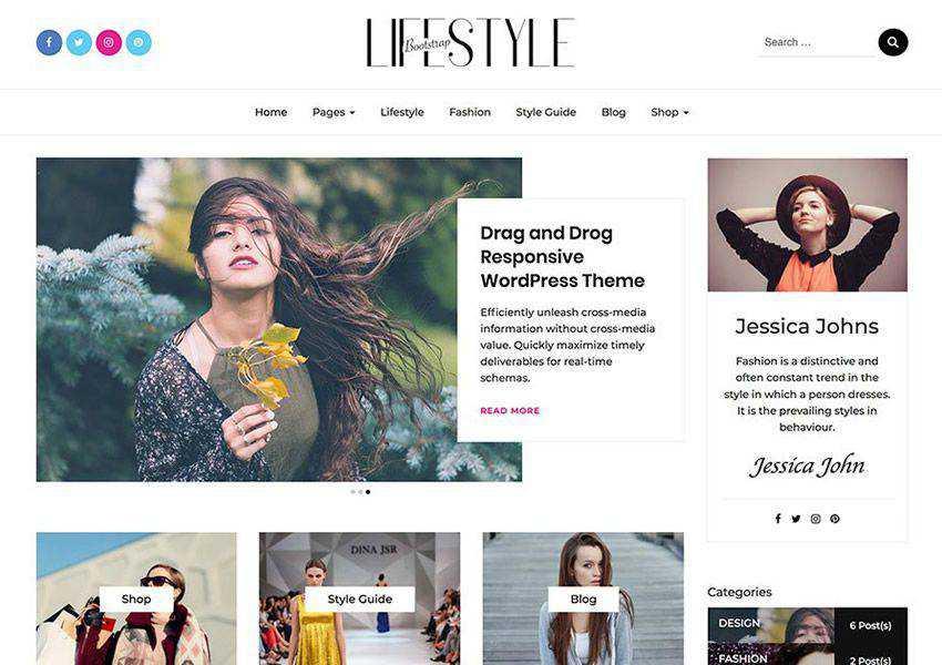 Bootstrap Blog Bloggers free wordpress theme wp responsive fashion lifestyle blog