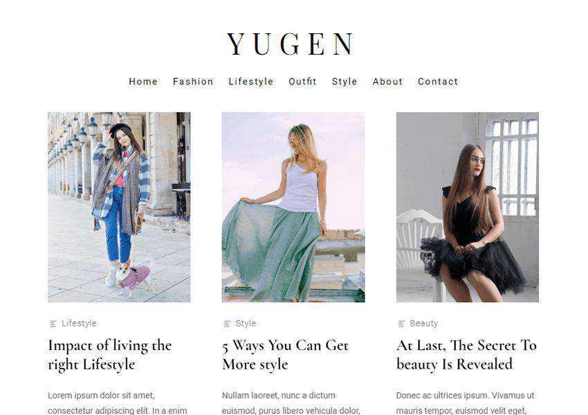 Yugen Modern Stylish free wordpress theme wp responsive fashion lifestyle blog