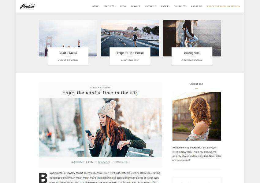Anariel Lite free wordpress theme wp responsive fashion lifestyle blog