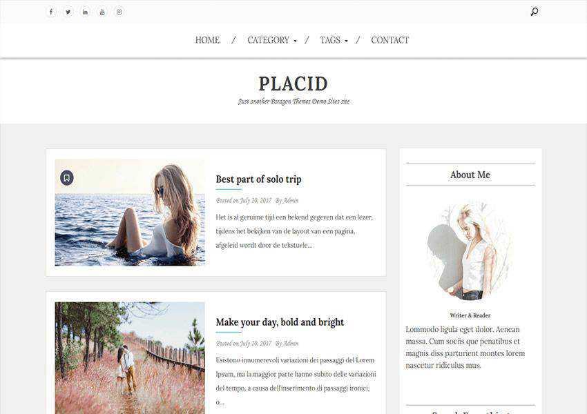 Placid free wordpress theme wp responsive fashion lifestyle blog
