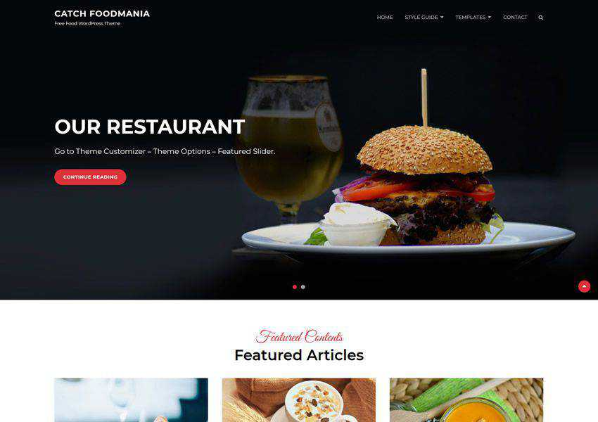 Catch Foodmania free wordpress theme wp responsive food culinary restaurant foodie lifestyle
