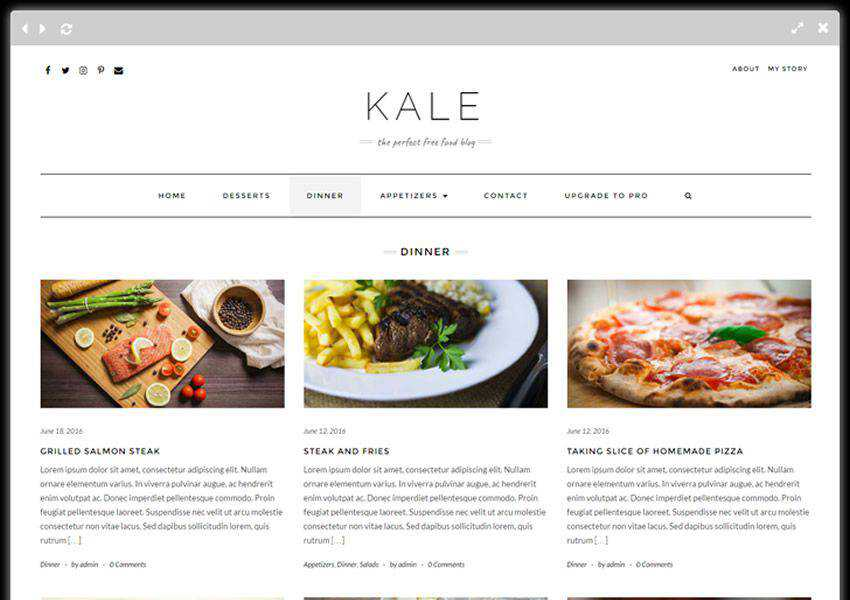 kale free wordpress theme wp responsive food culinary restaurant foodie lifestyle
