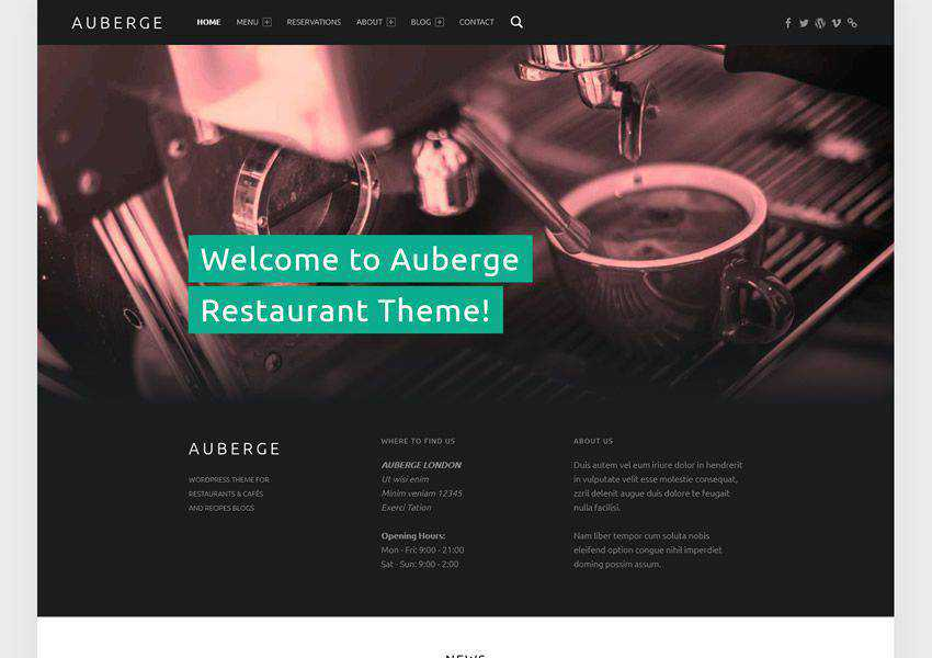 Auberge Business free wordpress theme wp responsive food culinary restaurant foodie lifestyle