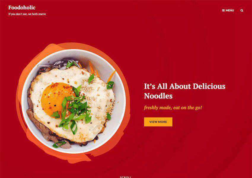 Foodoholic free wordpress theme wp responsive food culinary restaurant foodie lifestyle