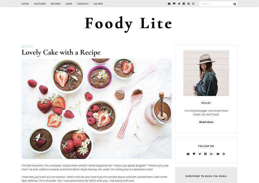 Foody Lite free wordpress theme wp responsive food culinary restaurant foodie lifestyle