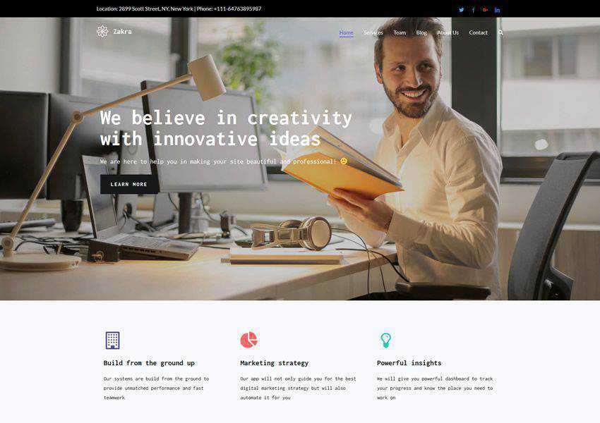 Zakra free wordpress theme wp responsive landing page business