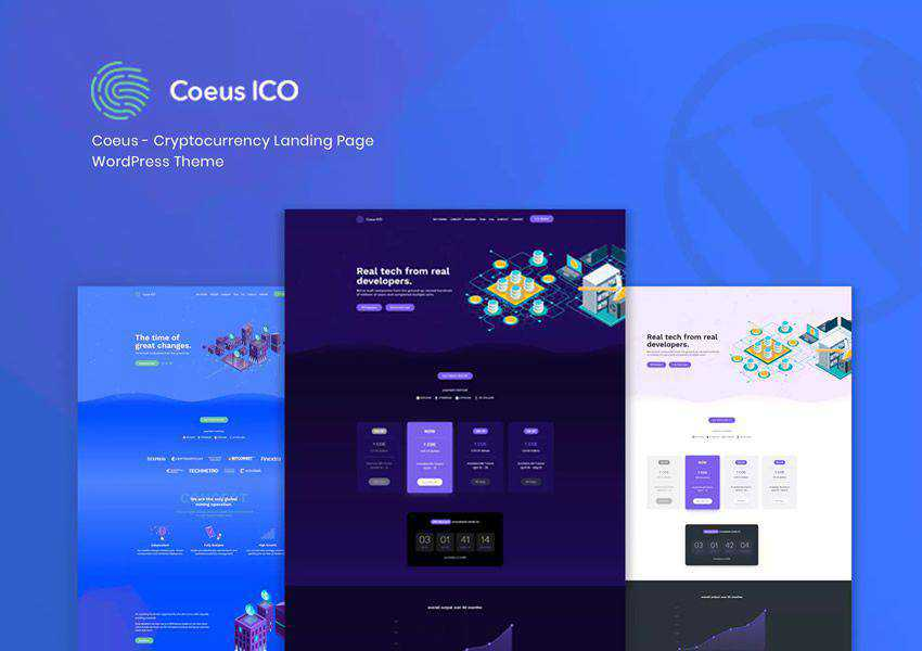 Coeus Cryptocurrency wordpress theme landing page business