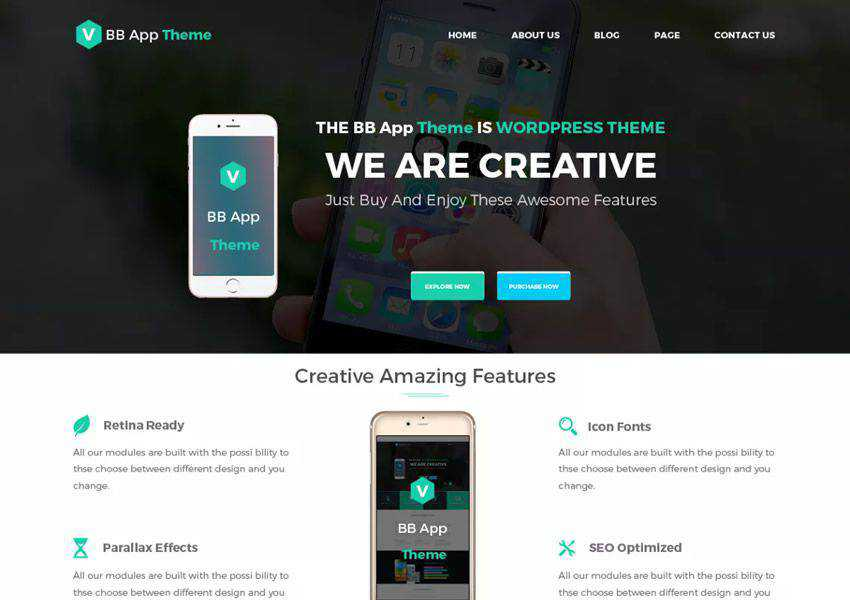 BB Mobile Application free wordpress theme wp responsive landing page business