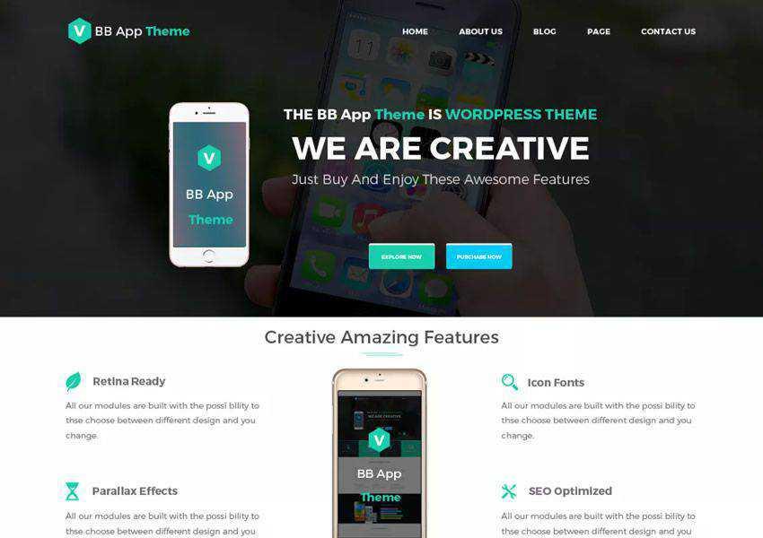 BB Mobile Application free wordpress theme wp responsive landing page business
