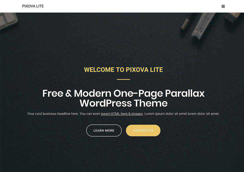 Pixova Lite free wordpress theme wp responsive landing page business