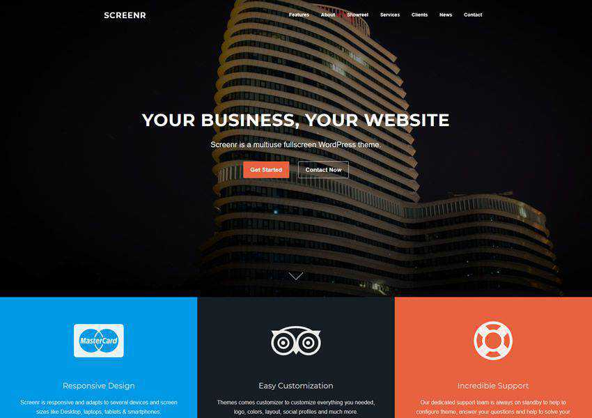 Screenr One-Page Parallax free wordpress theme wp responsive landing page business