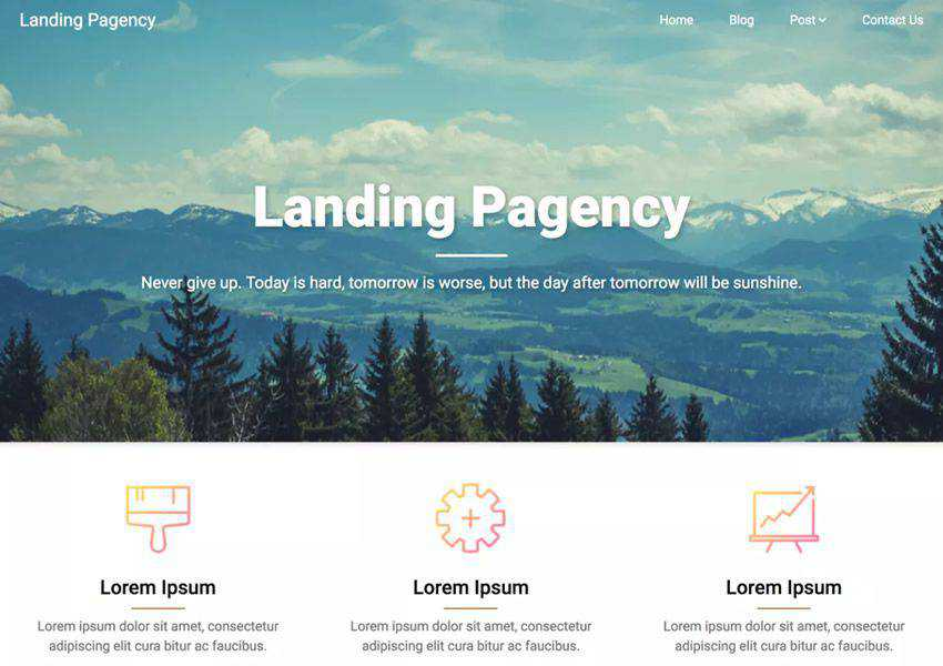 Pagency Minimal One-Page free wordpress theme wp responsive landing page business