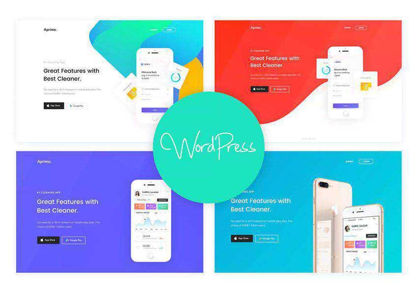Aprimo Mobile App wordpress theme landing page business