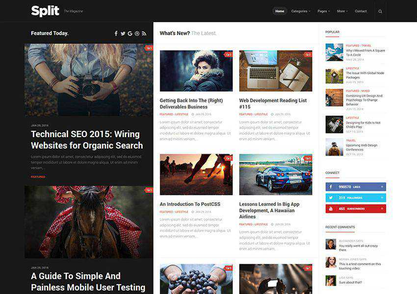 Split free wordpress theme wp responsive magazine news blog