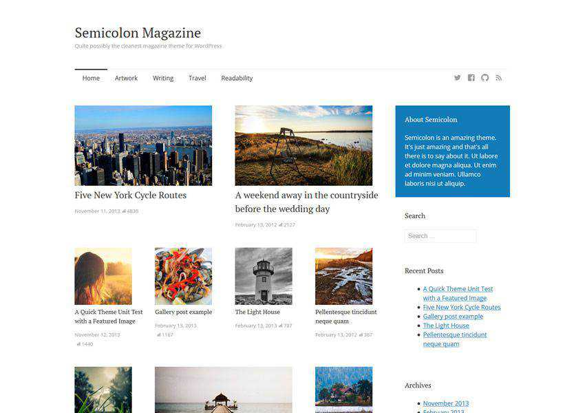 Semicolon Simple Clean free wordpress theme wp responsive magazine news blog