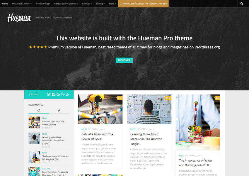 Hueman free wordpress theme wp responsive magazine news blog