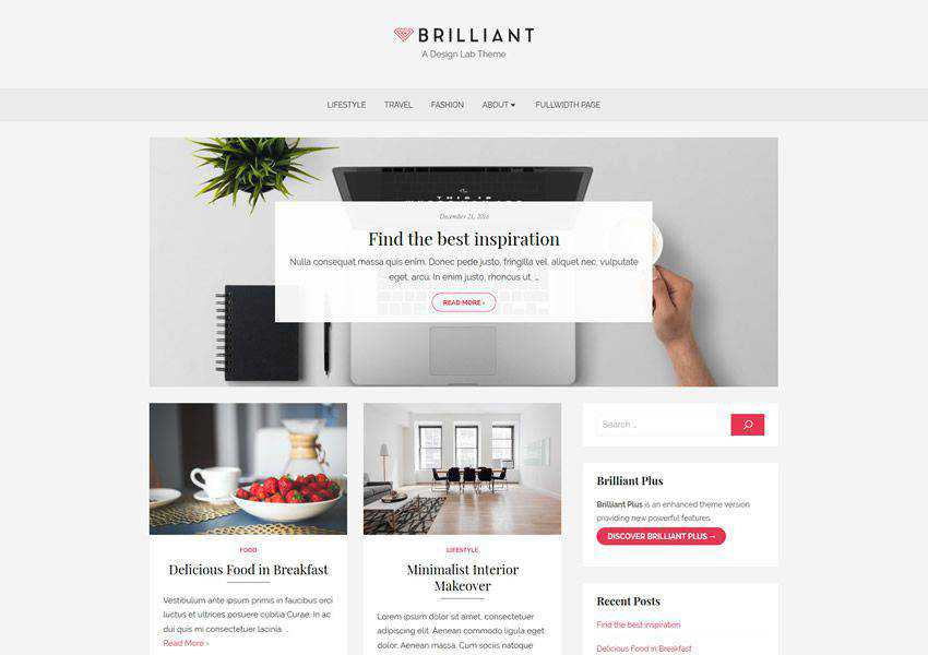 Brilliant Stylish free wordpress theme wp responsive magazine news blog