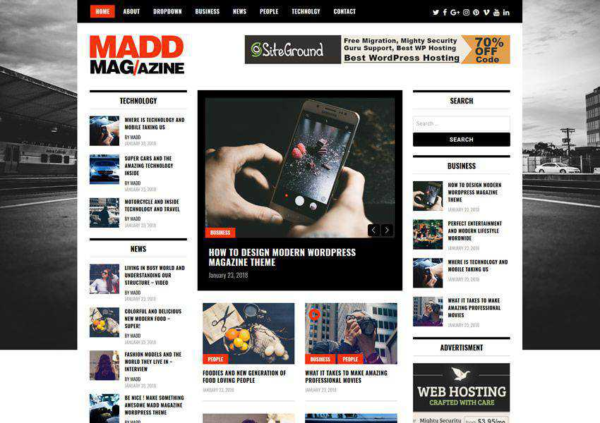 Madd free wordpress theme wp responsive magazine news blog