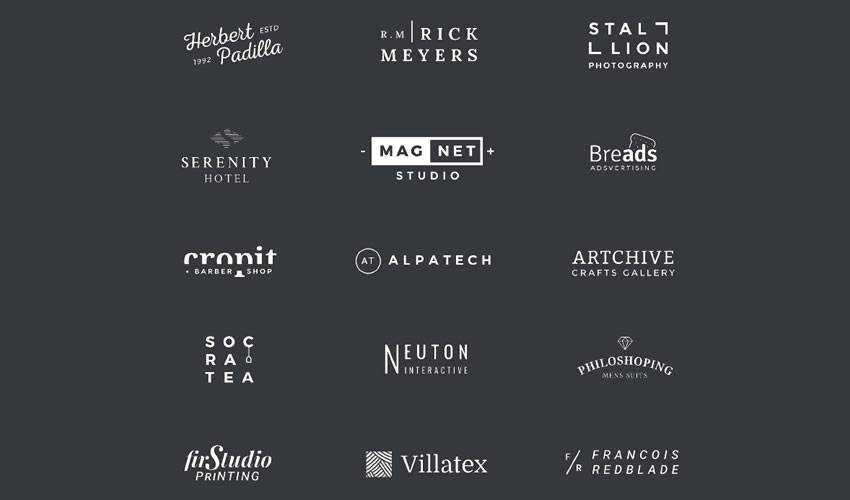 15 minimal psd photoshop free logo template brand collection pack