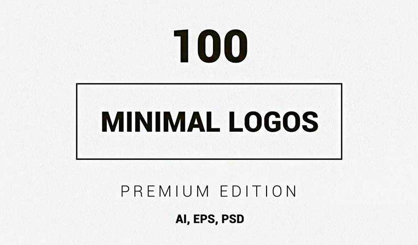 100 minimal ai illustrator psd photoshop logo template brand collection pack