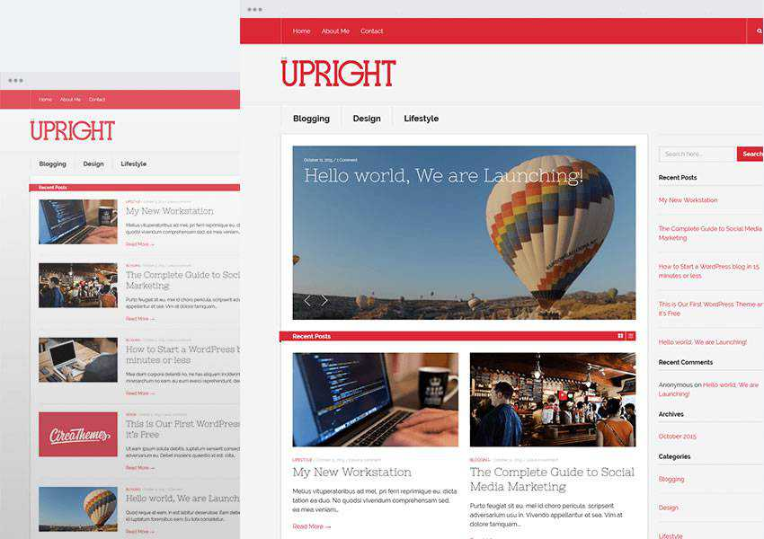 Upright free wordpress theme wp responsive blog minimal design minimalist lightweight
