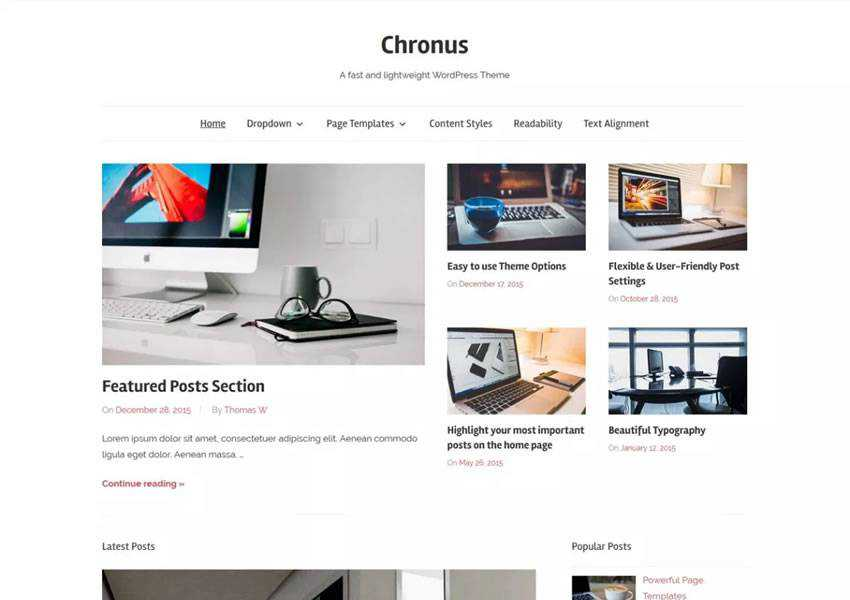 chronus free wordpress theme wp responsive blog minimal design minimalist lightweight