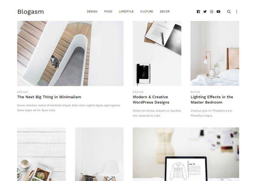 blogasm free wordpress theme wp responsive blog minimal design minimalist lightweight