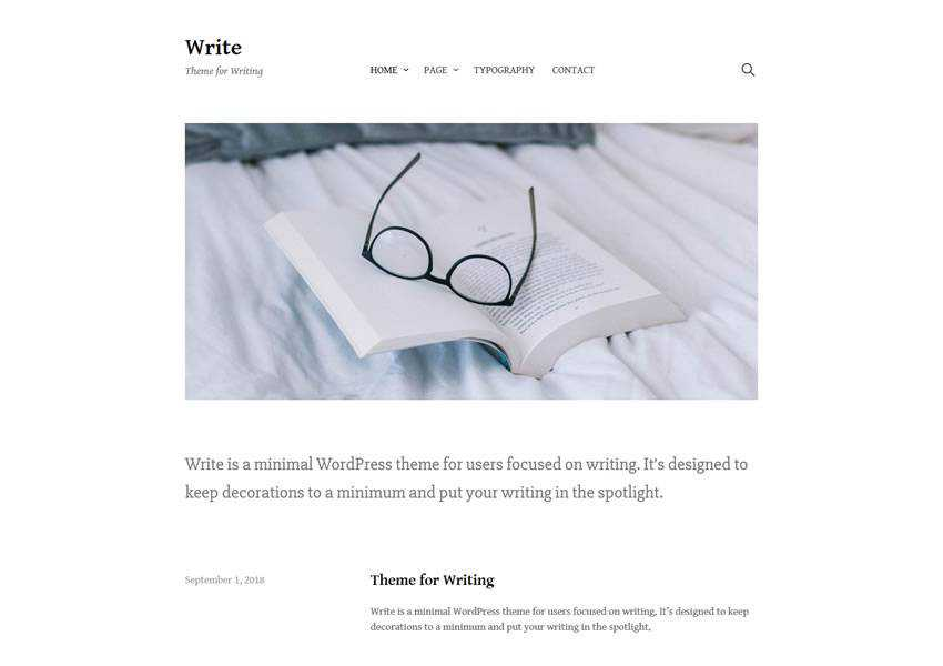 write free wordpress theme wp responsive blog minimal design minimalist lightweight