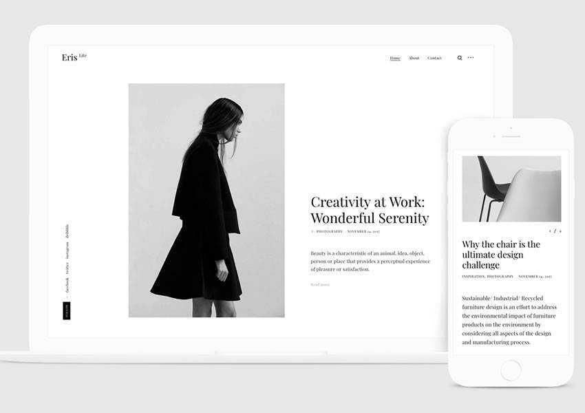 ErisLite Fast free wordpress theme wp responsive blog minimal design minimalist lightweight