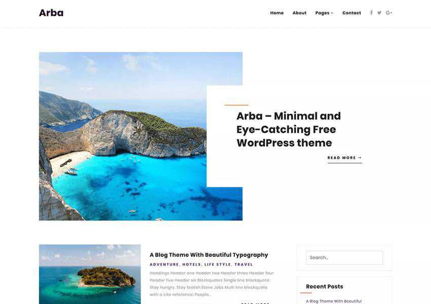 arba free wordpress theme wp responsive blog minimal design minimalist lightweight